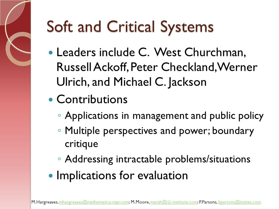 Soft and Critical Systems