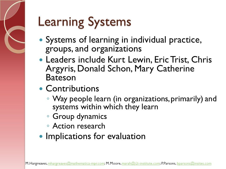 Learning Systems Systems of learning in individual practice, groups, and organizations.