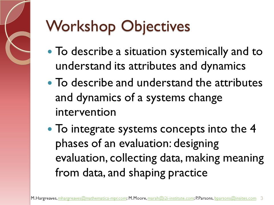 Workshop Objectives To describe a situation systemically and to understand its attributes and dynamics.