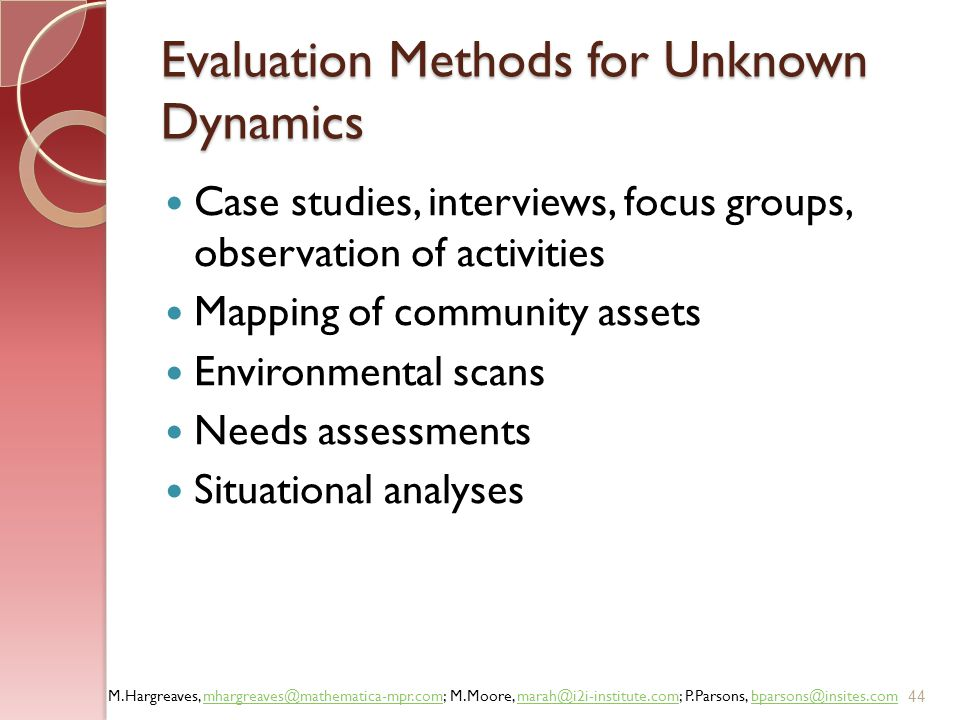 Evaluation Methods for Unknown Dynamics