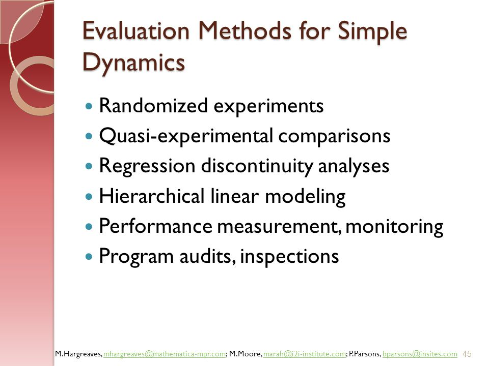 Evaluation Methods for Simple Dynamics