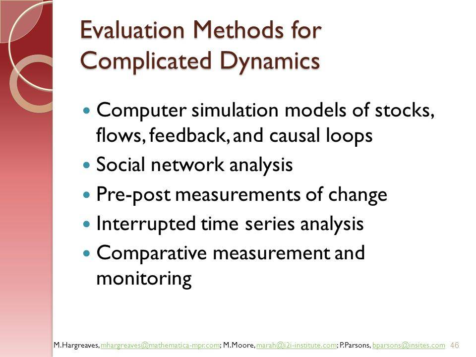 Evaluation Methods for Complicated Dynamics