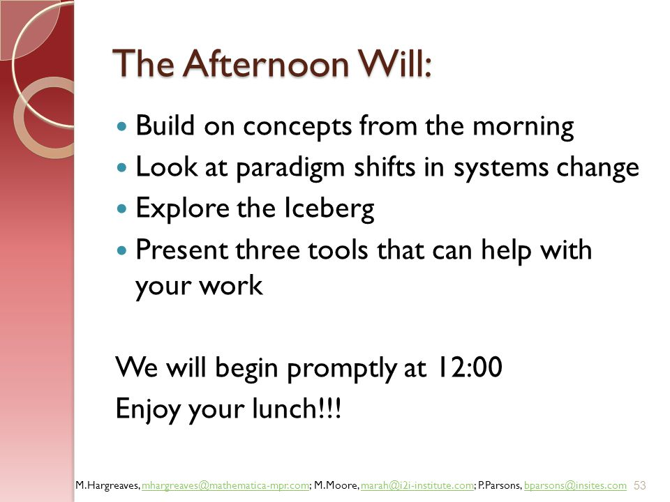 The Afternoon Will: Build on concepts from the morning
