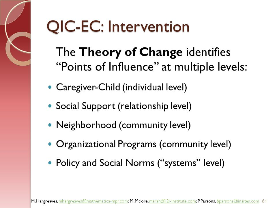 QIC-EC: Intervention The Theory of Change identifies Points of Influence at multiple levels: Caregiver-Child (individual level)