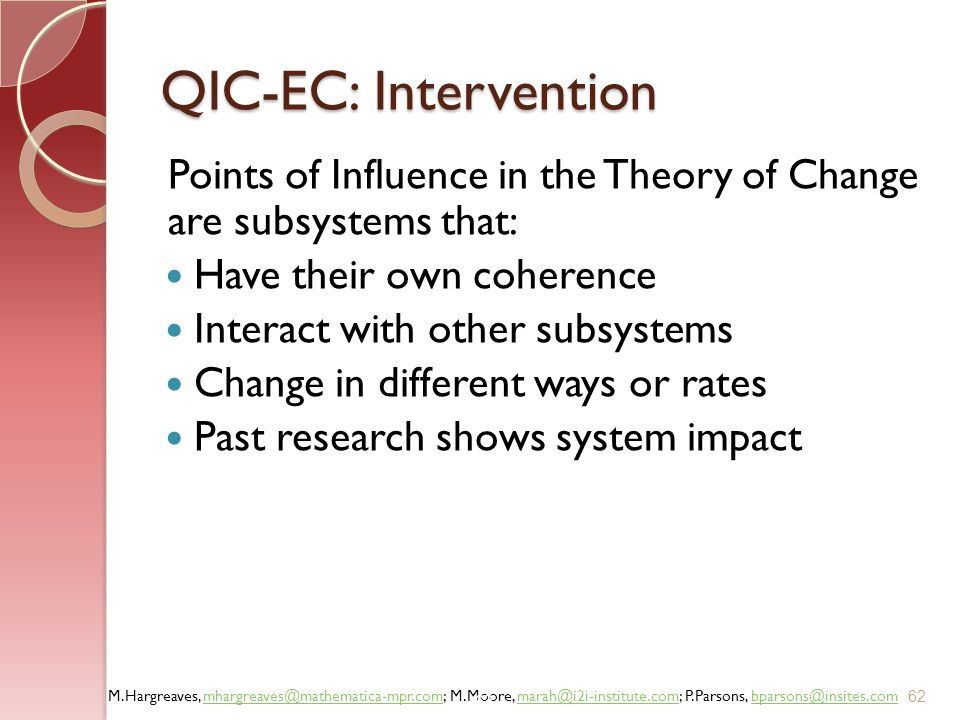 QIC-EC: Intervention Points of Influence in the Theory of Change are subsystems that: Have their own coherence.