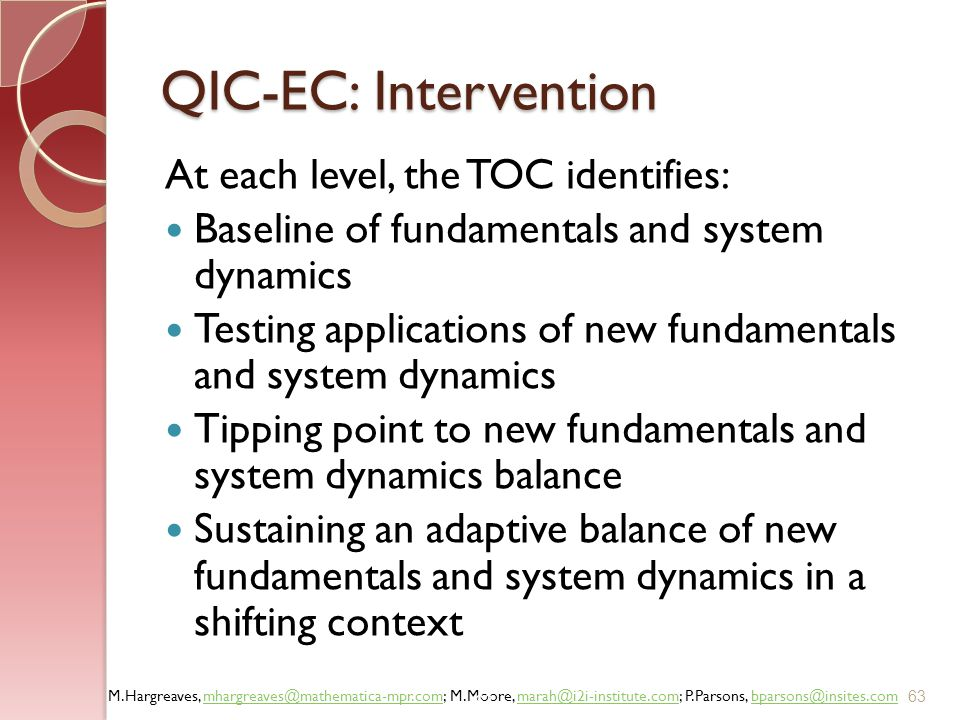 QIC-EC: Intervention At each level, the TOC identifies:
