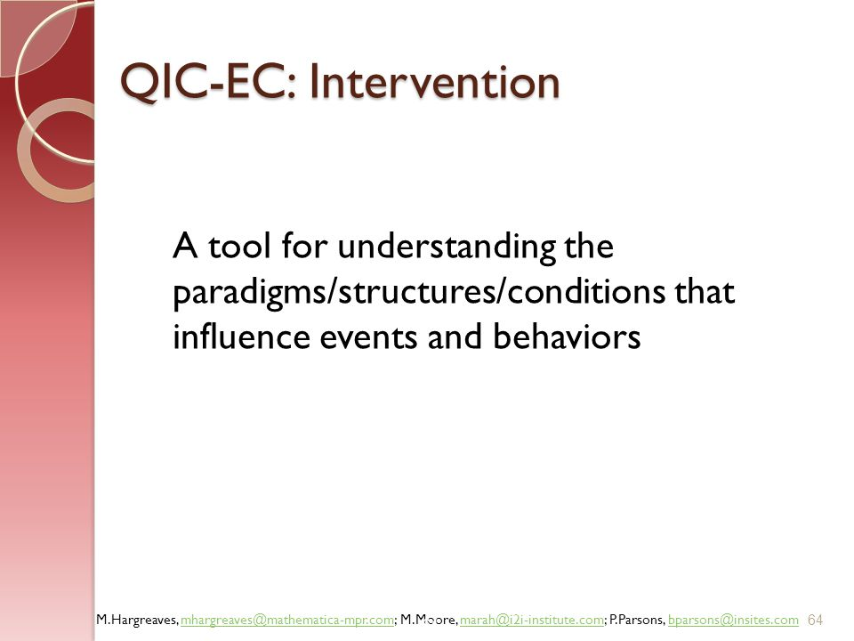 QIC-EC: Intervention A tool for understanding the paradigms/structures/conditions that influence events and behaviors.