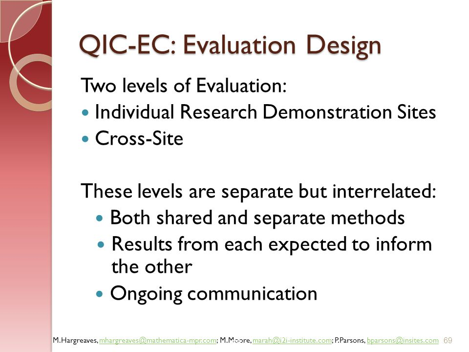 QIC-EC: Evaluation Design