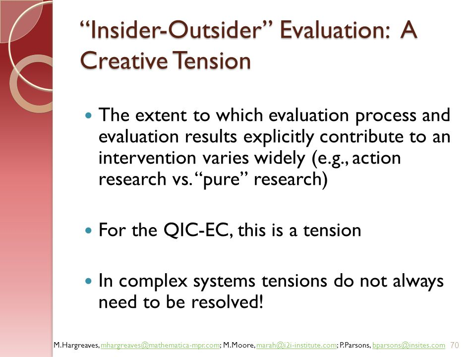 Insider-Outsider Evaluation: A Creative Tension