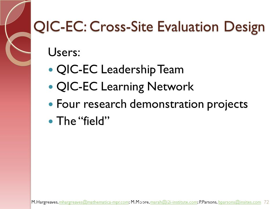 QIC-EC: Cross-Site Evaluation Design