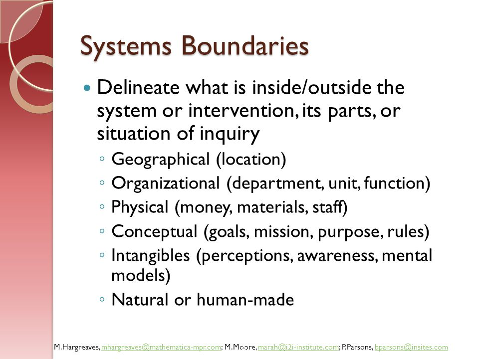 Systems Boundaries Delineate what is inside/outside the system or intervention, its parts, or situation of inquiry.