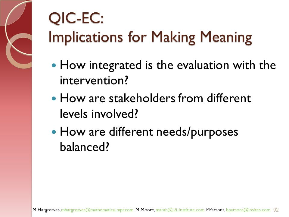 QIC-EC: Implications for Making Meaning