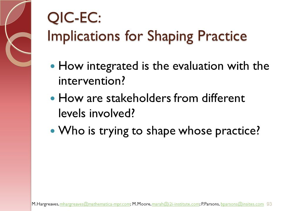 QIC-EC: Implications for Shaping Practice