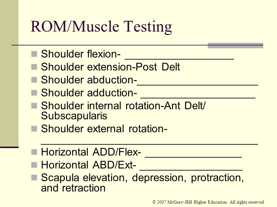 ROM/Muscle Testing Shoulder flexion- __________________