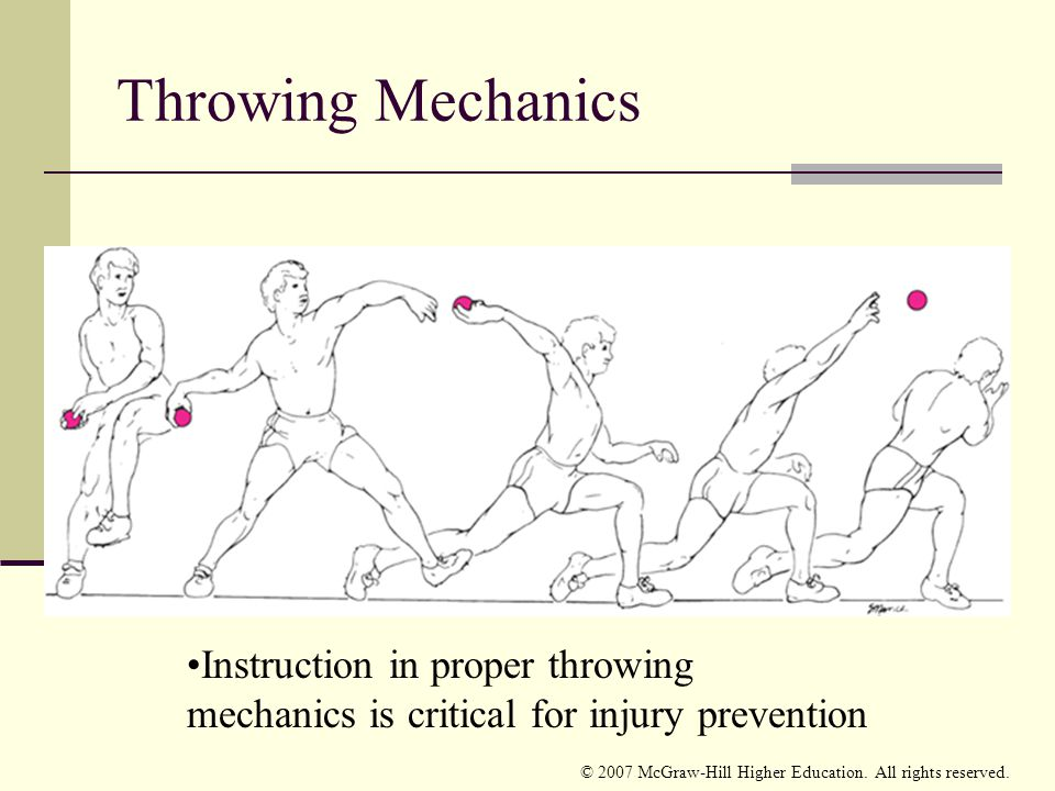 Throwing Mechanics Instruction in proper throwing mechanics is critical for injury prevention