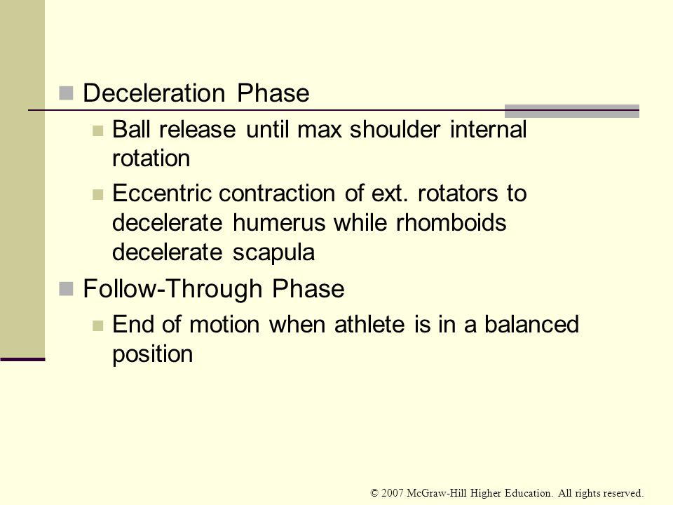 Deceleration Phase Follow-Through Phase