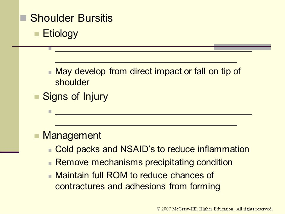 Shoulder Bursitis Etiology Signs of Injury Management