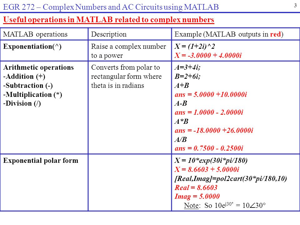 EGR 272 – Complex Numbers and AC Circuits using MATLAB