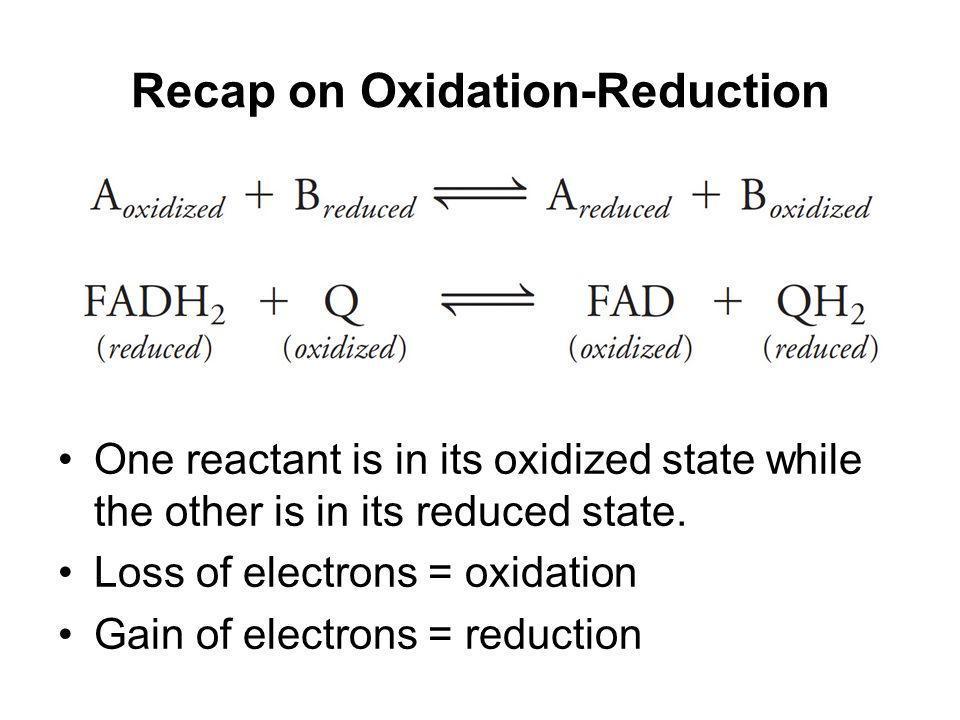 Recap on Oxidation-Reduction