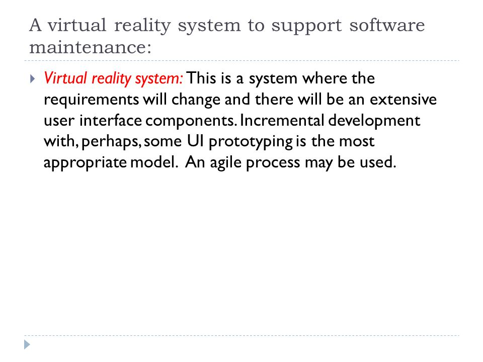 A virtual reality system to support software maintenance: