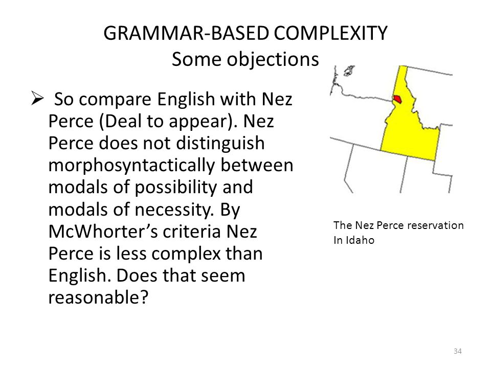 GRAMMAR-BASED COMPLEXITY Some objections