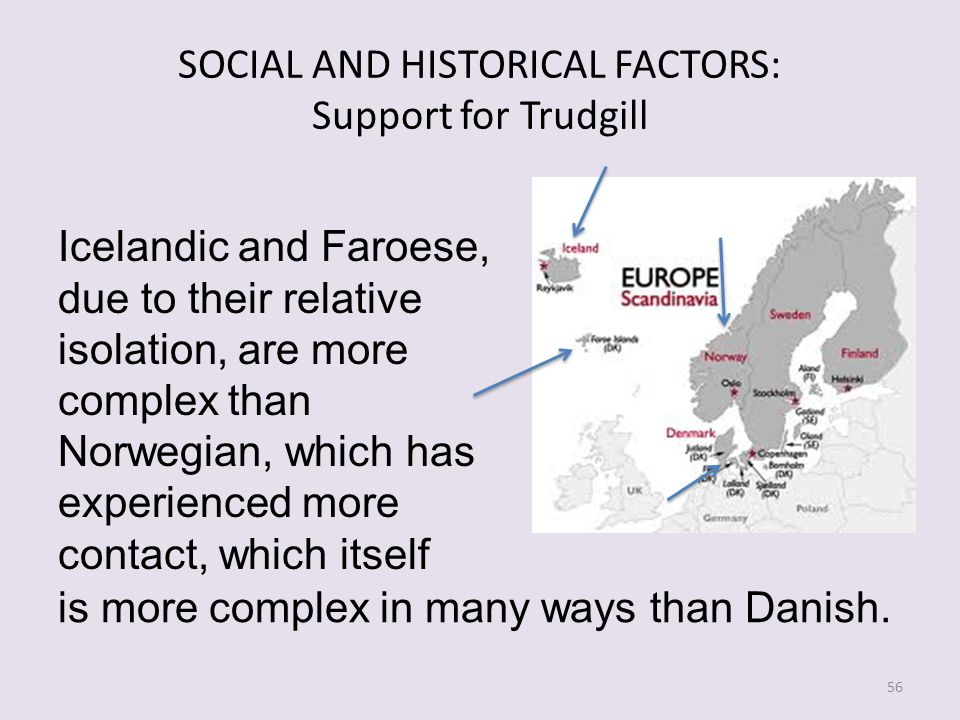 SOCIAL AND HISTORICAL FACTORS: Support for Trudgill