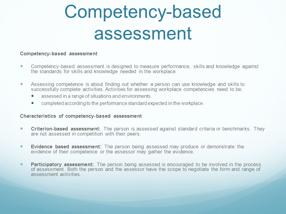 Competency-based assessment