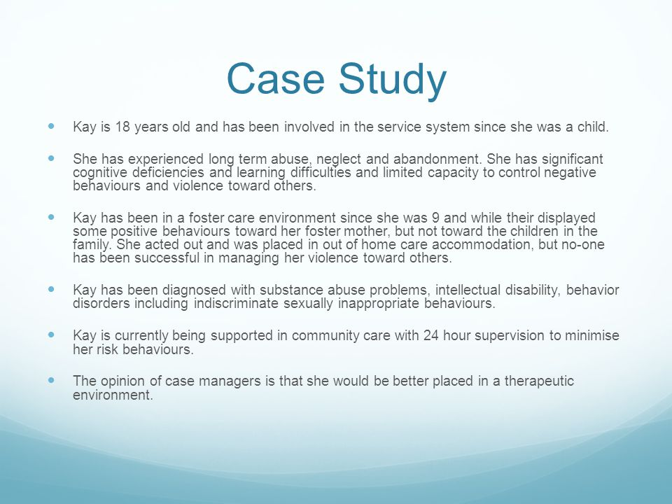 case study about behavior The case startup kit recommends organizational behavior cases ideal for teaching as a first case for aspiring case teachers.