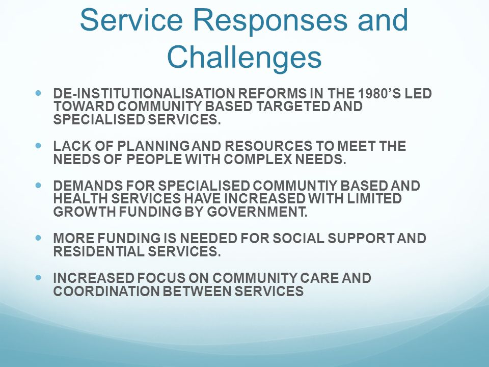 Service Responses and Challenges