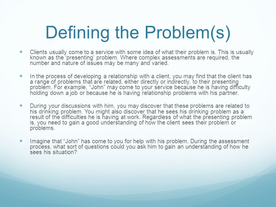Defining the Problem(s)