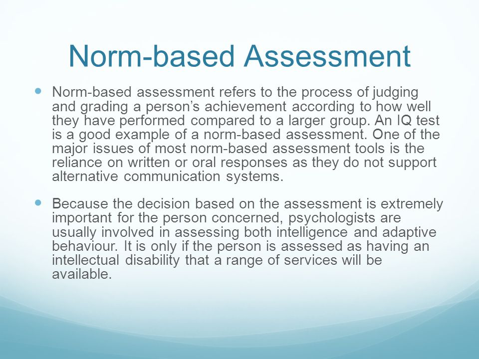 Norm-based Assessment