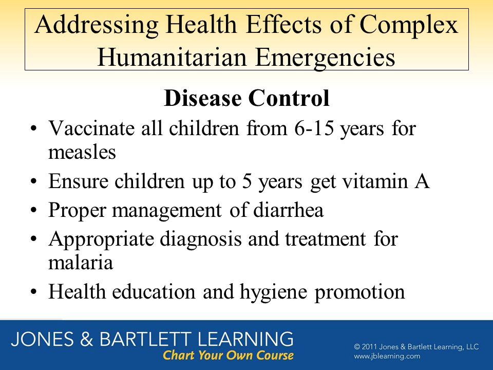 Addressing Health Effects of Complex Humanitarian Emergencies