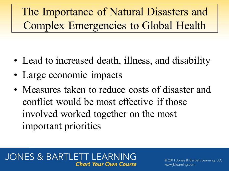 The Importance of Natural Disasters and Complex Emergencies to Global Health