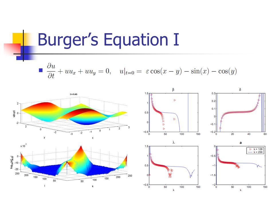 Burger's Equation I Here we work with an equation form which is very similar to the 1D Burger's equation.