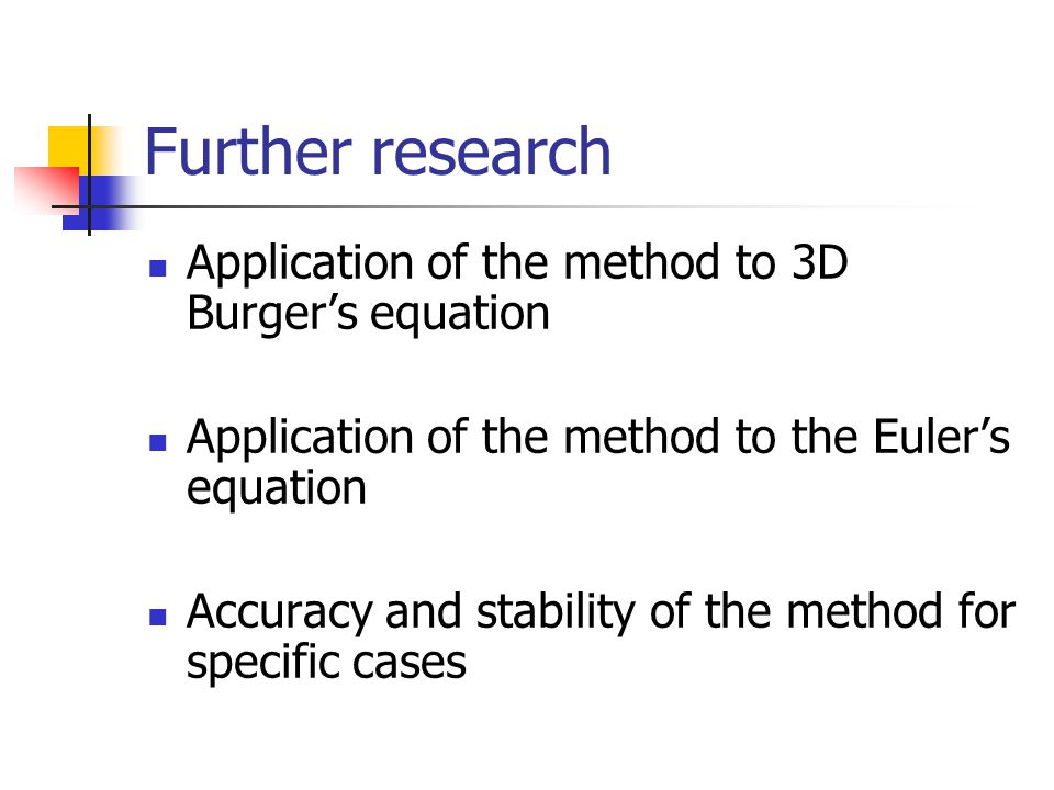 Further research Application of the method to 3D Burger's equation