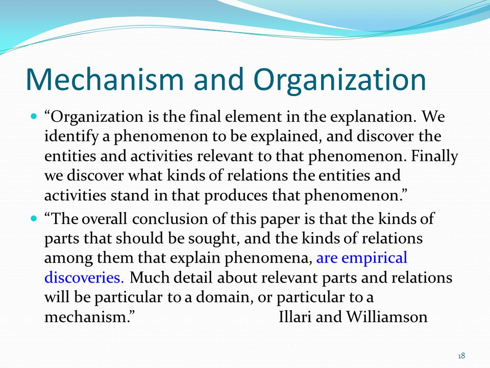 Mechanism and Organization