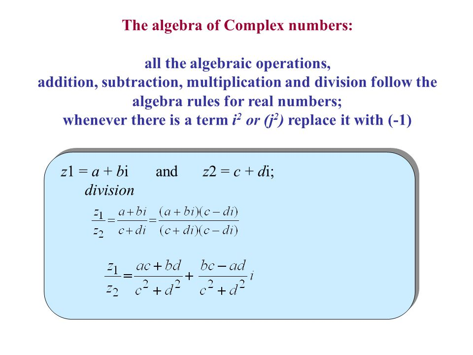 The algebra of Complex numbers: all the algebraic operations,