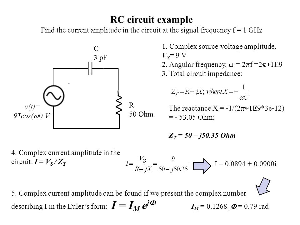 RC circuit example Find the current amplitude in the circuit at the signal frequency f = 1 GHz. 1. Complex source voltage amplitude, VS= 9 V.