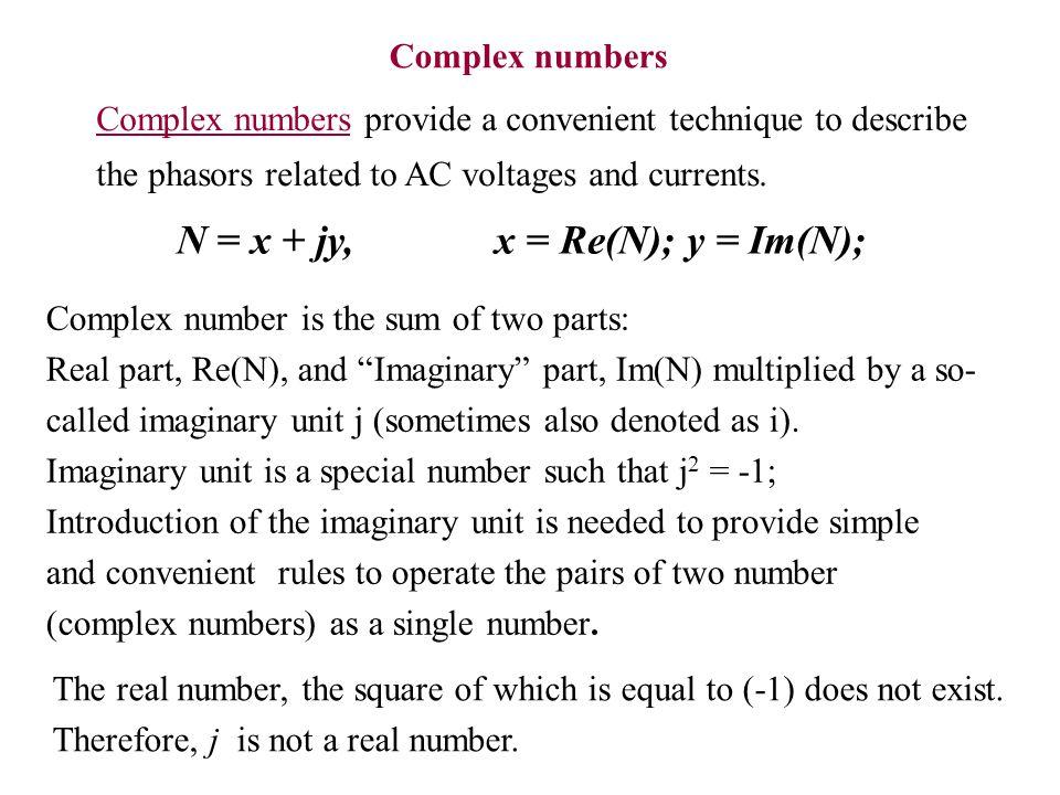 N = x + jy, x = Re(N); y = Im(N);