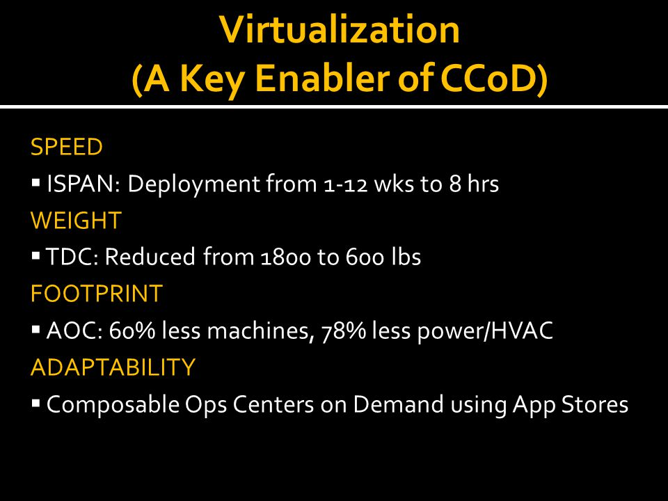 Virtualization (A Key Enabler of CCoD)