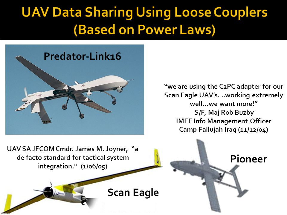 UAV Data Sharing Using Loose Couplers (Based on Power Laws)
