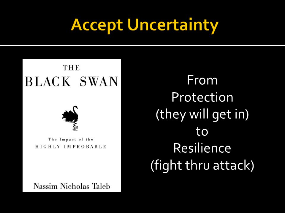 Accept Uncertainty From Protection (they will get in) to Resilience