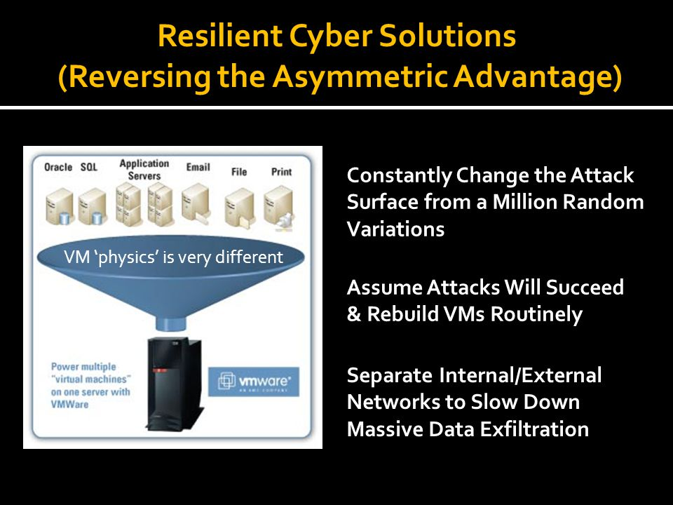 Resilient Cyber Solutions (Reversing the Asymmetric Advantage)