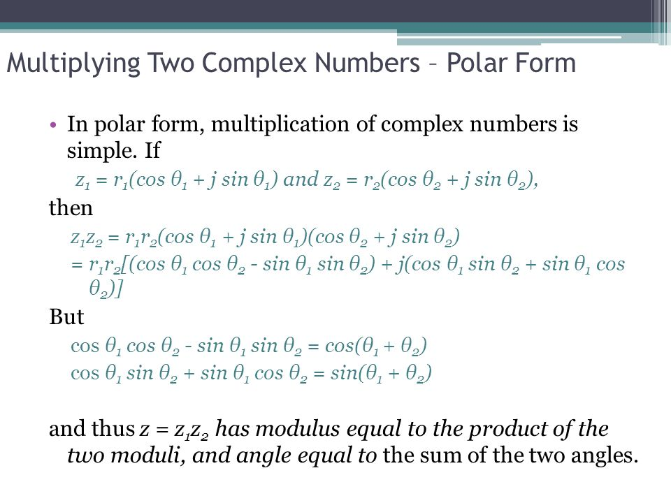 Multiplying Two Complex Numbers – Polar Form