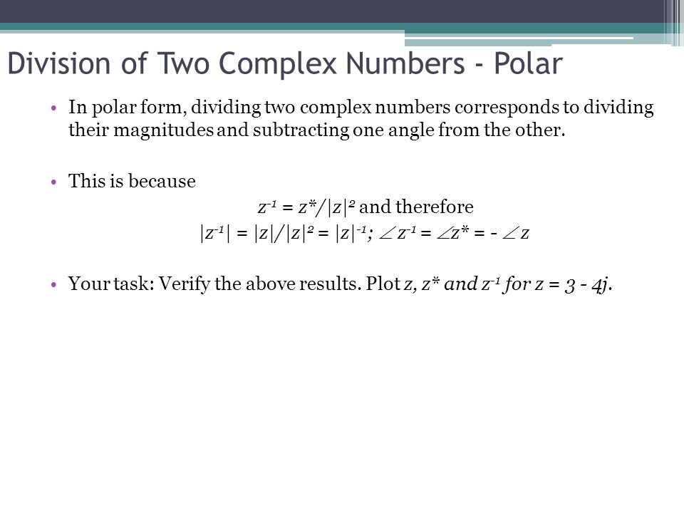 Division of Two Complex Numbers - Polar