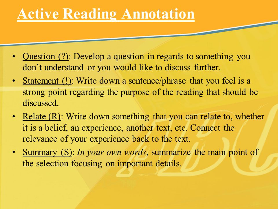 Active Reading Annotation