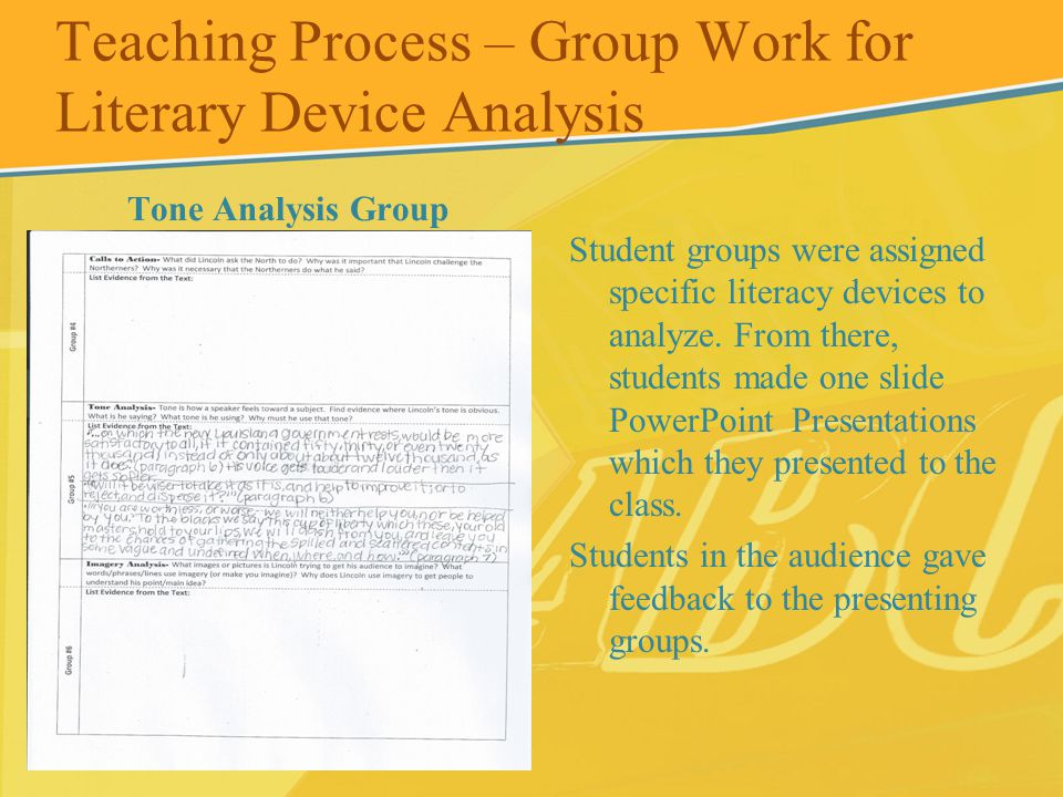 Teaching Process – Group Work for Literary Device Analysis