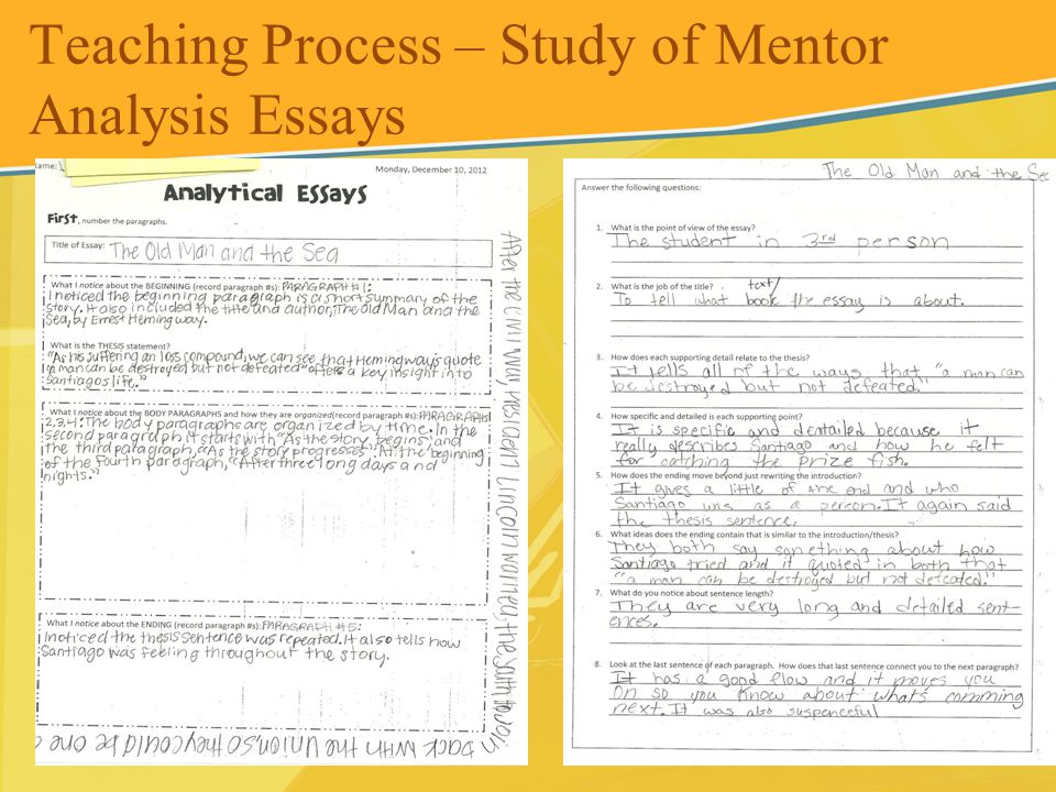 Teaching Process – Study of Mentor Analysis Essays