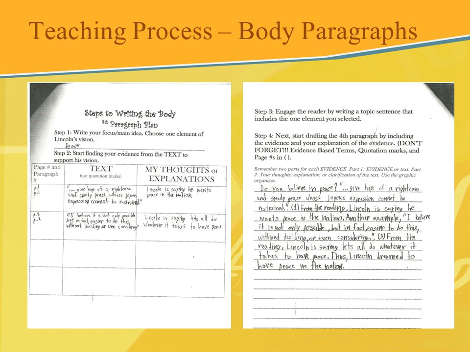 Teaching Process – Body Paragraphs