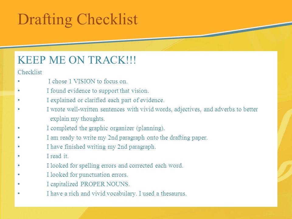 Drafting Checklist KEEP ME ON TRACK!!! Checklist